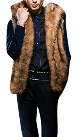 Men s Hooded Faux Rabbit Fur Vest Sleeveless Waistcoat with Hook 3XL Brown 3fa961969688