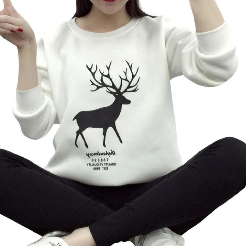 SHOBDW Mujer Moda de Invierno Camiseta de Manga Larga Lindo Reno Estampado Casual Sudadera Cuello Redondo Jersey Suelto Tallas Grandes Tops Blusa Diaria(Blanco, X-Large): Amazon.es: Ropa y accesorios
