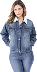 c04f33fe97 SALT TREE Women s Button Front Washed Out Sherpa Lined Denim Jacket