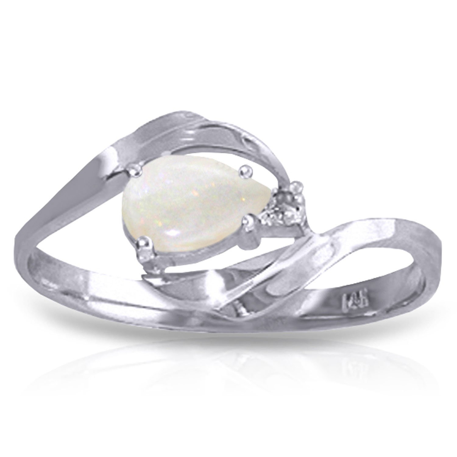 0.26 Carat 14k Solid White Gold Ring with Natural Diamond and Pear-shaped Opal - Size 10.5