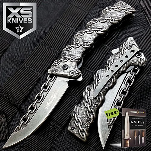 Tac-Force Spring Assisted Knife - Tactical Rescue Pocket Stonewashed Blade Carbon Steel Sharp Blade Knife + Free eBook by SURVIVAL STEEL - Butterfly Knife Blade Clip