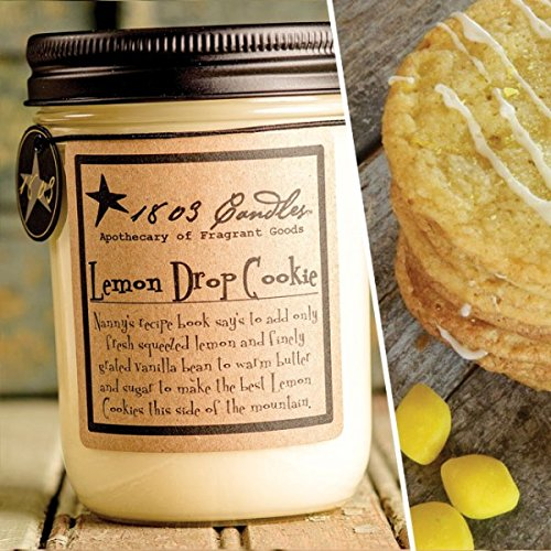 1803 Candles - 14 oz. Jar Soy Candles - Spring Scents (Lemon Drop Cookies)