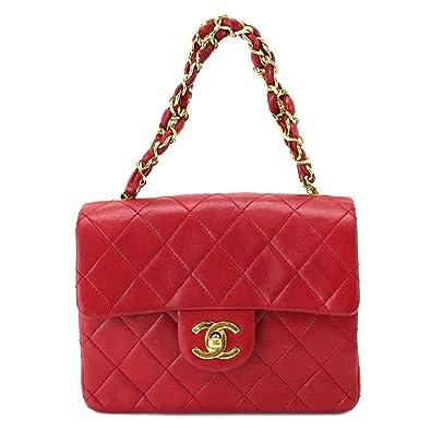 571c02ce9d7b シャネル ミニ マトラッセ チェーン ハンド バッグ シングルフラップ レッド 赤 ココマーク ロゴ CC ゴールド金具
