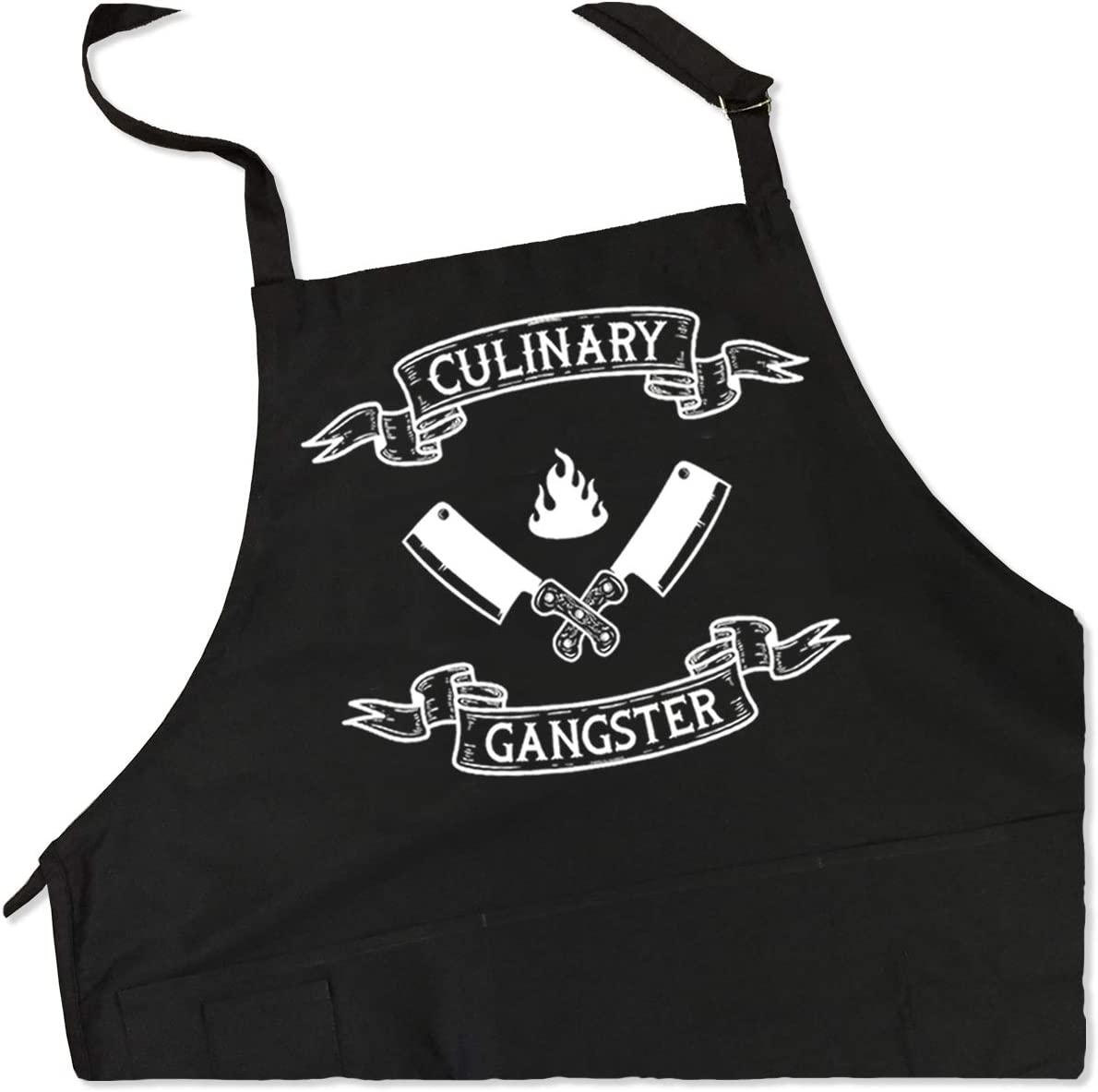 ApronMen - Culinary Gangster Apron - Funny BBQ Apron for Dads - 1 Size Fits All Chef Quality Cotton 4 Utility Pockets, Adjustable Neck and Extra Long Waist Ties - Black Color