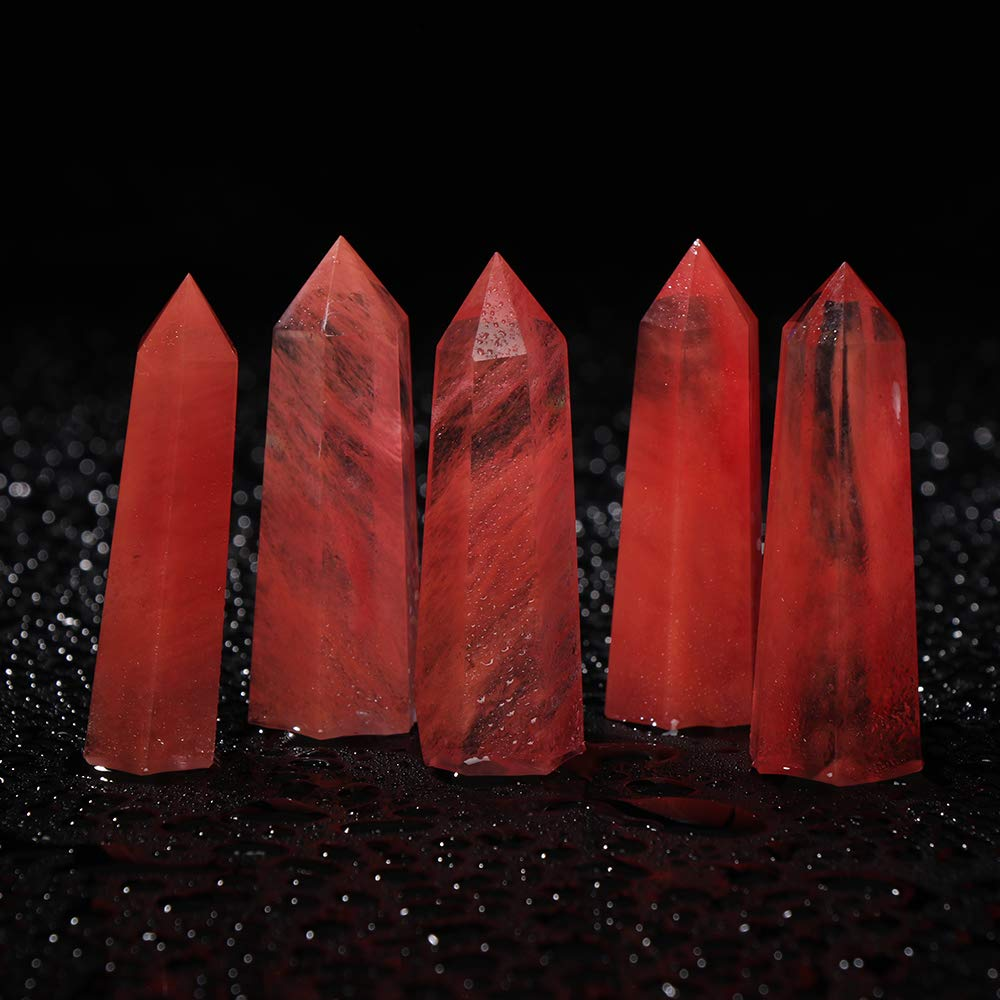Labu Store 1PC New Natural Rare Red Quartz Crystal Single Terminated Wand Point Healing 50-80mm Mineral Specimens Collectibles Home Decor