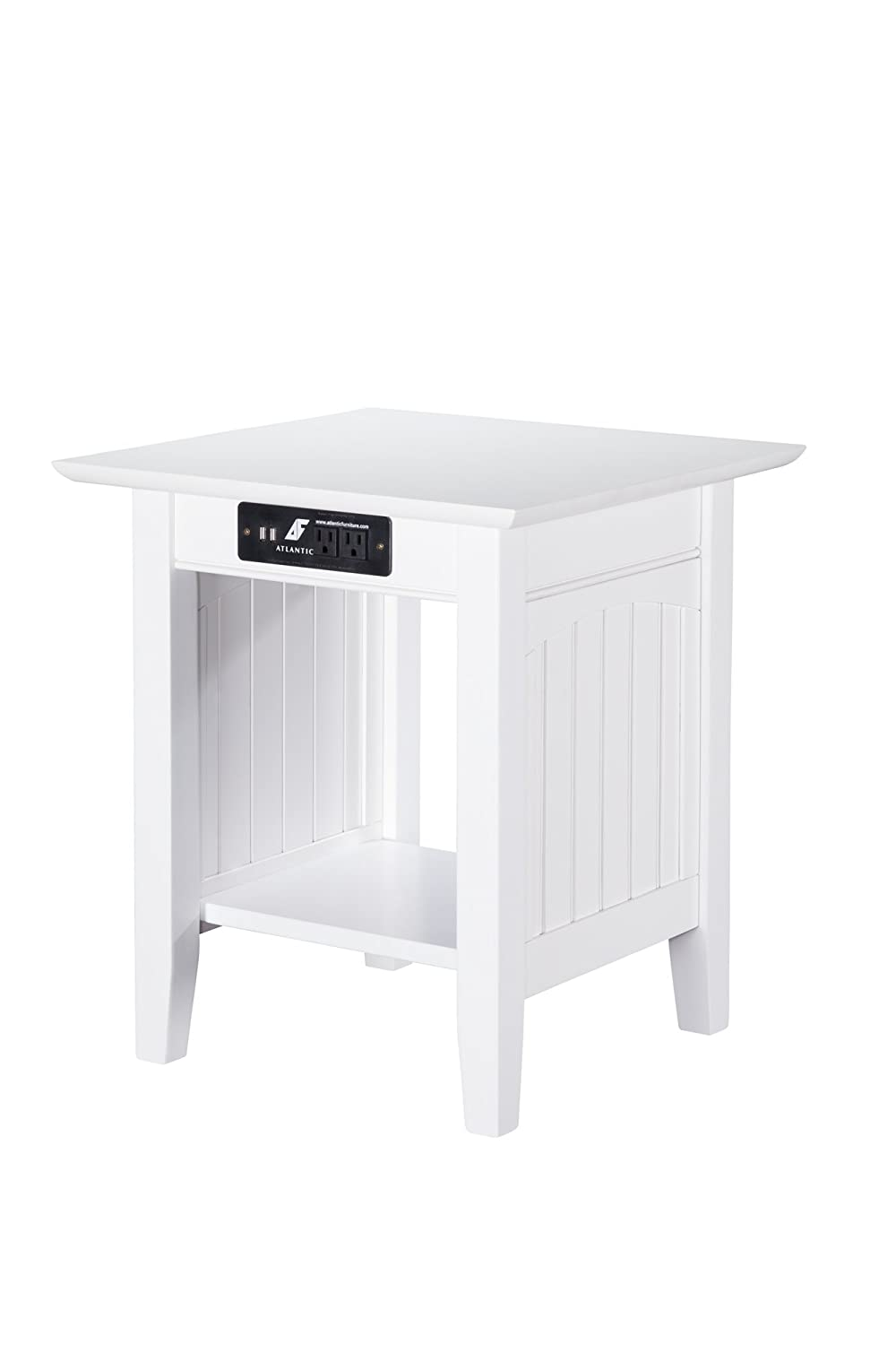 Atlantic Furniture AH14312 Nantucket End Table with Charging Station, White