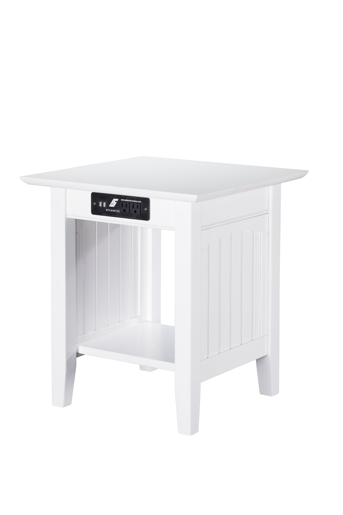Nantucket End Table with USB Charger, White