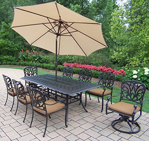 Oakland Hampton 11-Piece Dining Set with 84 by 42-Inch Re...