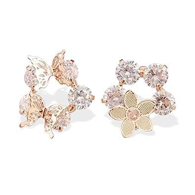 09c3f575f723 Dana Carrie S925 Sterling Silver Ear tornillos mariposa chica personalidad  temperamento flores sencillas con Gold Diamond Earrings joyas asimétrica y  ...