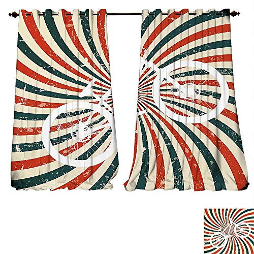 fengruiyanjing-Home Blackout Window Curtain Retro Poster Old Fashion Spiral Bike Bicycle Pop Graphic Hunter Green Red Cream Customized Curtains (W107 x L84 -Inch 2 Panels) (Peanut Spiral Red)