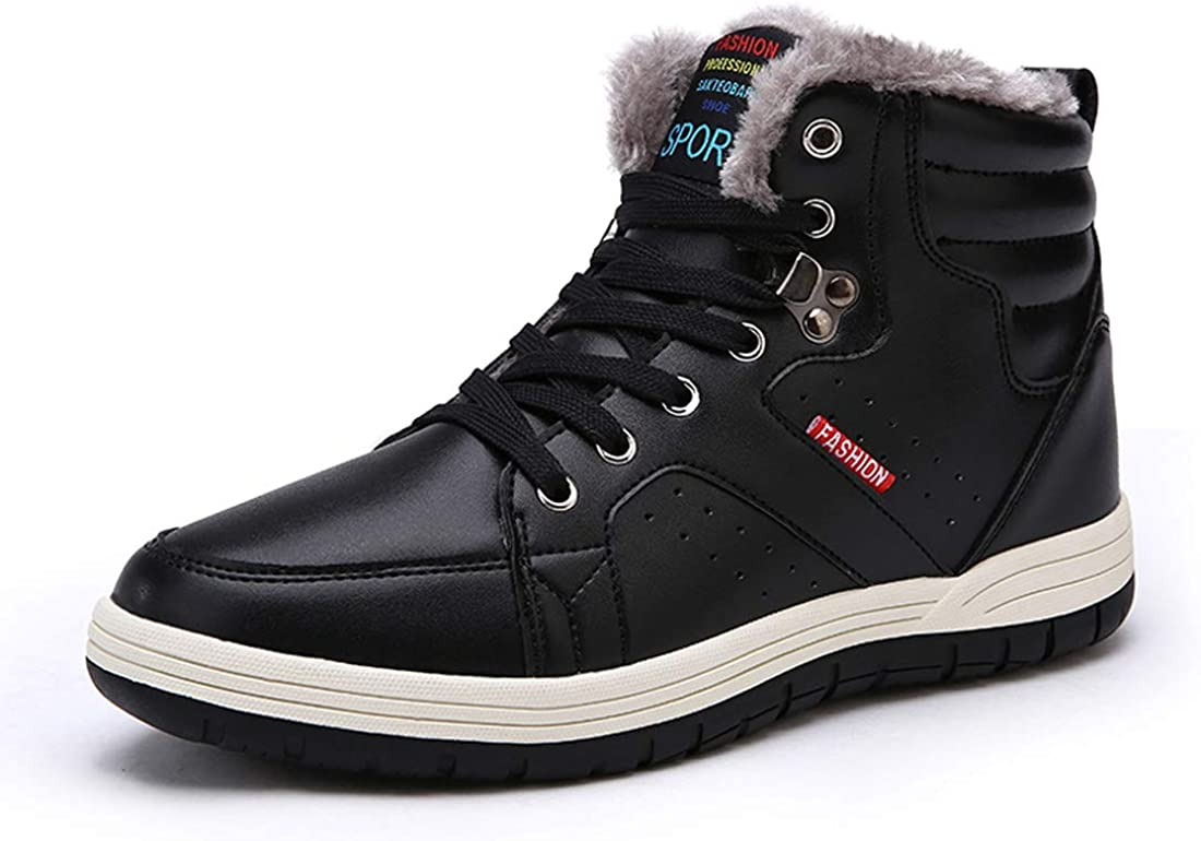 Ceyue Mens Leather Snow Boots Lace up