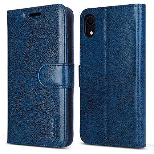 labato iPhone XR Wallet Case, Genuine Leather Magnetic Closure Flip Case Cover with Credit Card Holder Support Wireless Charging Shockproof Protective Case for Apple iPhone XR 6.1 Blue