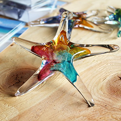 Luke Adams Small Glass Starfish Pink-Amber-Teal Amber Blown Glass