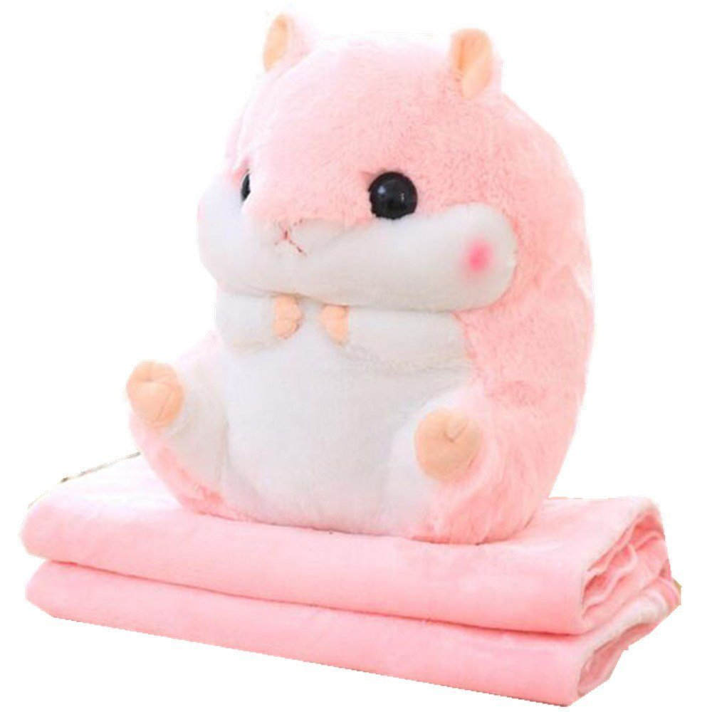 yaode 2 In 1 Baby Blanket Plush Hamster Throw Pillow Stuffed Animals Toy Blanket Set. (Pink, 6739.5 inch)