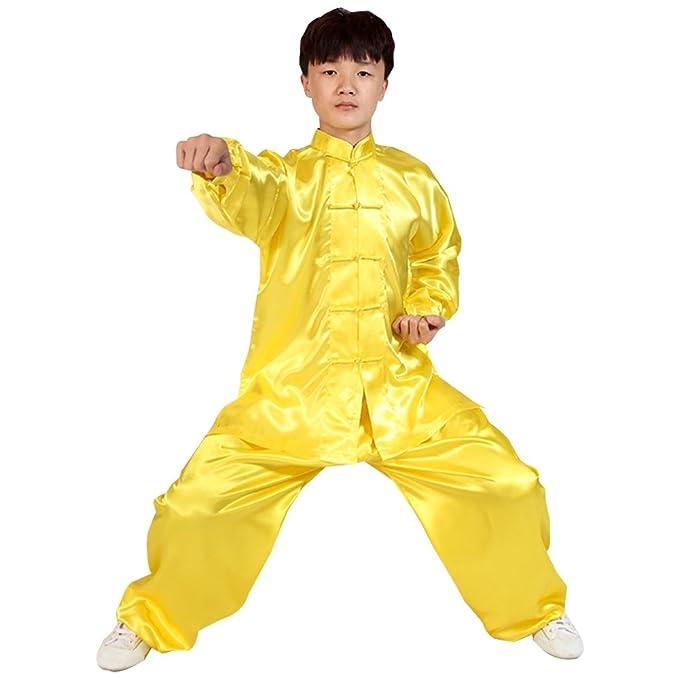 BOZEVON Unisex Niños Ropa De Tai Chi Poliéster Tang Traje de Artes Marciales Kung Fu Uniformes Disfraces, Blanco
