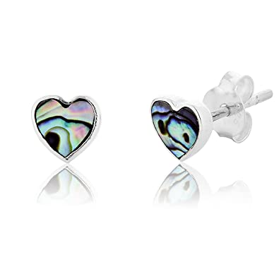 340d32243 DTPSilver - 925 Sterling Silver and Abalone Paua Shell Heart Studs Earrings:  Amazon.co.uk: Jewellery