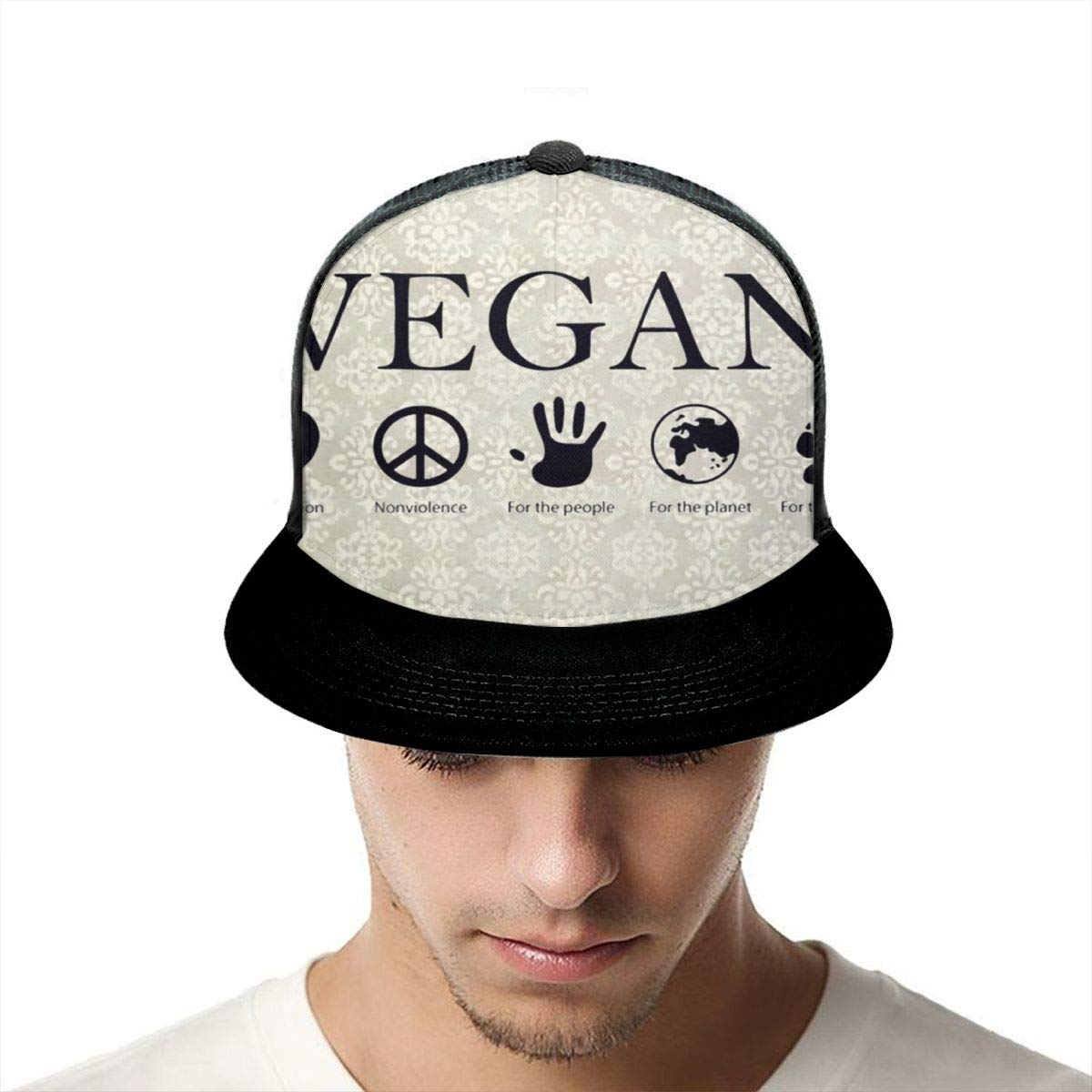 Unisex 100/% Polyester Vegan Vegetarian Baseball Cap Quick Dry Mesh Back Trucker Hat for Unisex