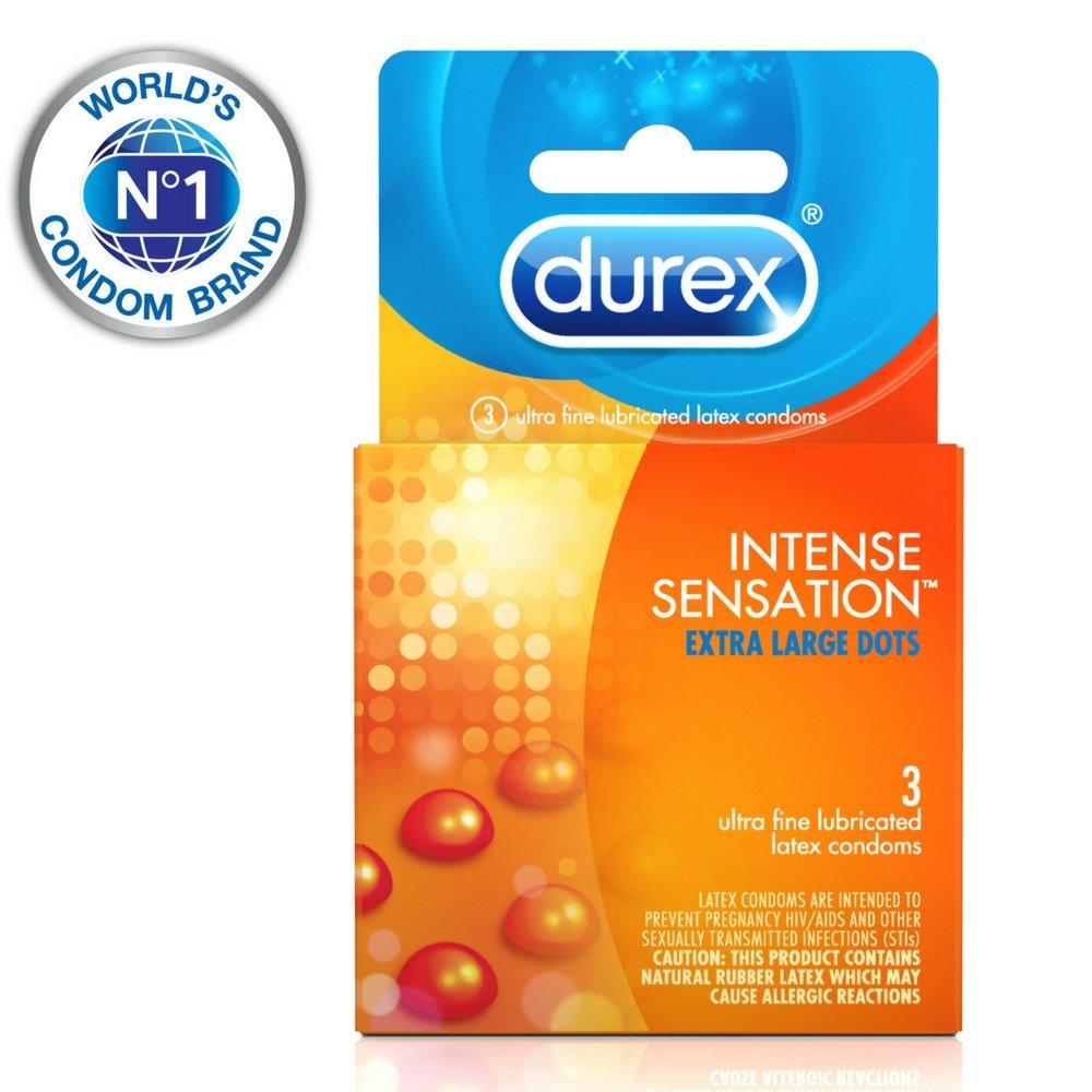 Durex Intense Sensation Condom, 3 Count (Pack of 16) by Durex