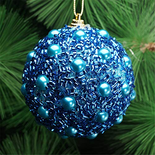 Christmas Tree Decoration Christmas Ball Ornaments Decoration Tree Balls for Holiday Wedding Party Decoration (8cm in Diameter) Rhinestone Glitter Baubles Balls Xmas Tree Ornament Decoration (Blue) by TLT Retail (Image #1)