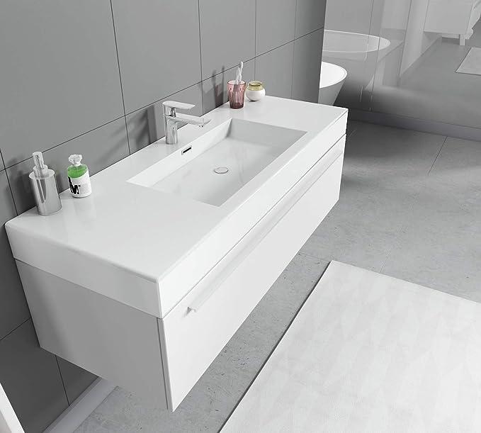 120 cm Weißer Waschtisch mit Ablagefläche