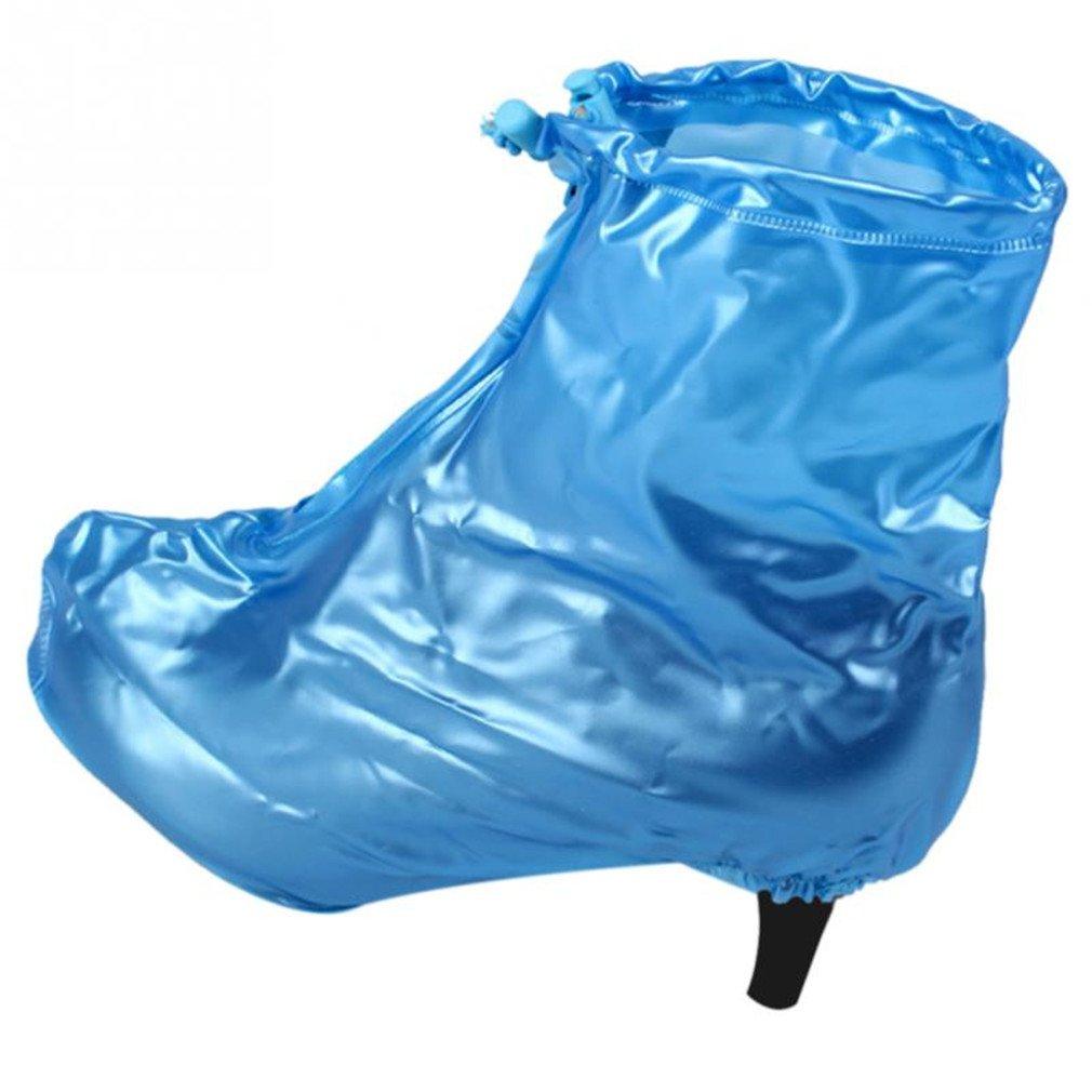 Waterproof Rain High Heels Shoes Covers Women Rain Boots Waterproof Shoe Cover Blue Eur Size 35-36