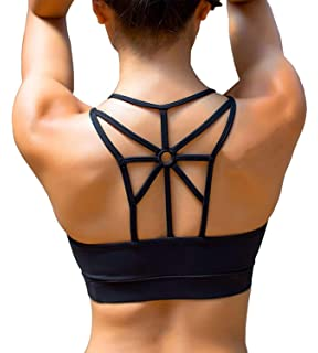 deaa86aa8c YIANNA Women s Padded Sports Bra Cross Back High Impact Workout Running  Yoga Bra