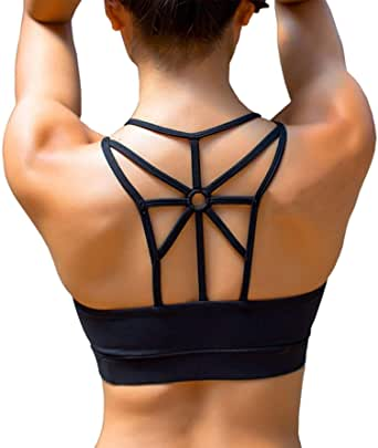 YIANNA Sports Bras for Women Cross Back Padded Sports Bra Medium Support Workout Running Yoga Bra