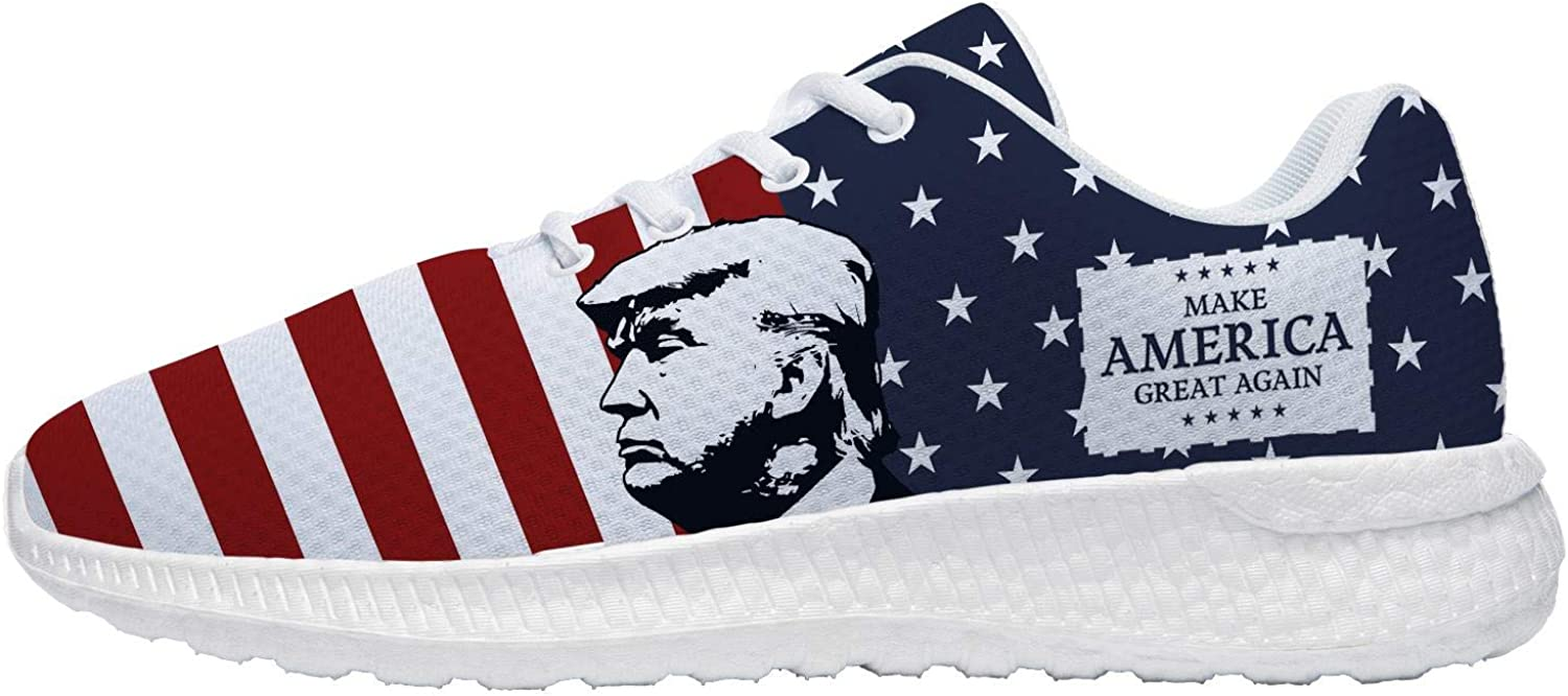 New Release Uminder Mens Womens Trump Shoes 3D Print Breathable Lightweight American Flag Running Sneakers Gifts for Friends Trump White-1 r3WORR