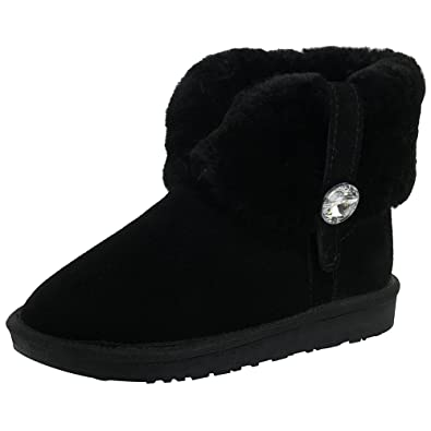 Women Genuine Leather Ankle Winter Boots Warm Wool Lining Snow Boots With Sparkling Rhinestone