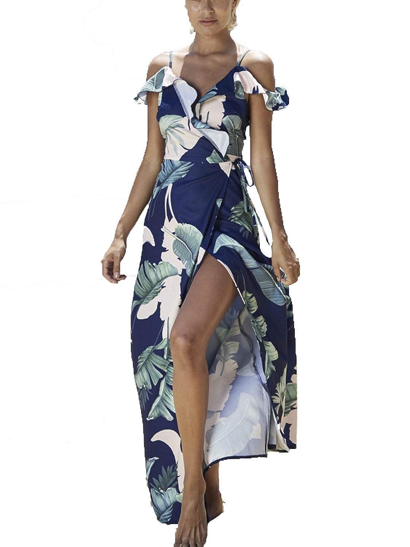 c0cf8b36e195 Simplee Apparel Women's Strap Ruffle Cold Shoulder Floral Print Wrap Maxi Dress  Beach at Amazon Women's Clothing store: