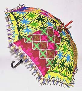 UML02049decoración para el hogar Rajasthani diseño de bordado trabajo algodón paraguas 61x 71cm