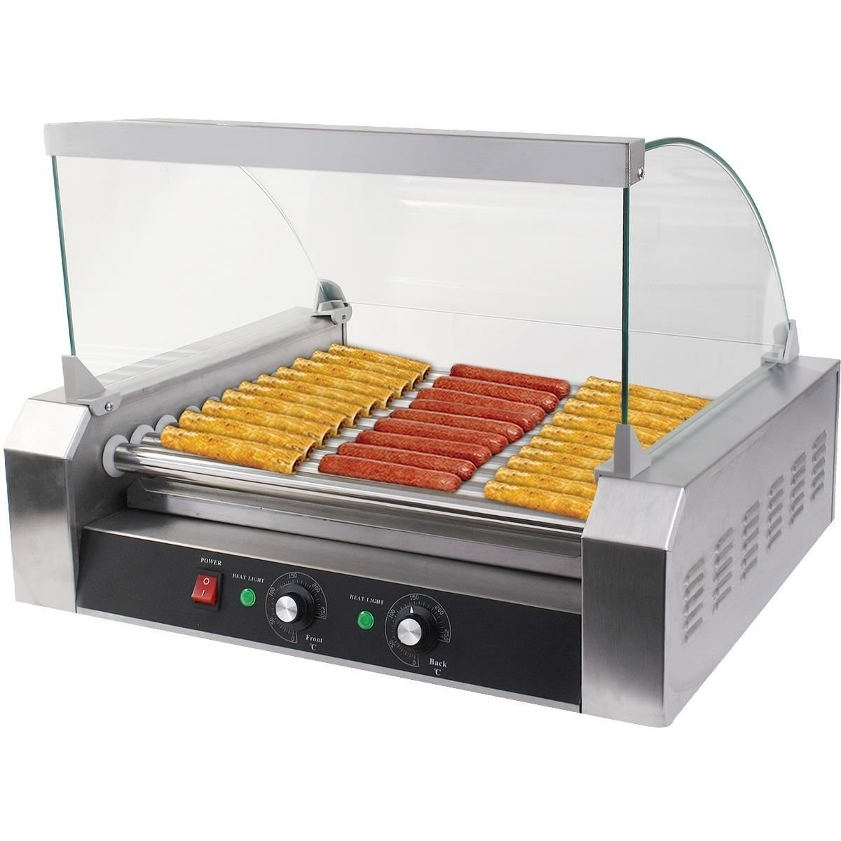 Safstar 11 Roller 30 Hot Dog Grill Machine Commercial Hotdog Cooker Maker Machine with Cover (11 Rollers)