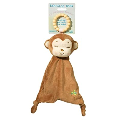 Douglas Baby Lil Sshlumpie Plush Brown Monkey Teether with Blanket : Baby