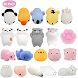 Kawaii Squishies Spielzeug Set,20 Stück Mochi Squishy Tiere Katze Spielzeug Soft Stress Relief Mini Squeeze Toys