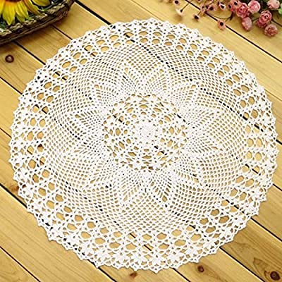 kilofly Handmade Crochet Cotton Lace Table Sofa Doily, Waterlily, White, 22 inch - Material - Cotton, washable and reusable Round shape with knitted waterlily design - Harmonious with dishes, tabletop items, sofa head and arm rests Use as placemats, table toppers or ideal for dressing up your sofa - placemats, kitchen-dining-room-table-linens, kitchen-dining-room - 618nhY10MSL. SS400  -