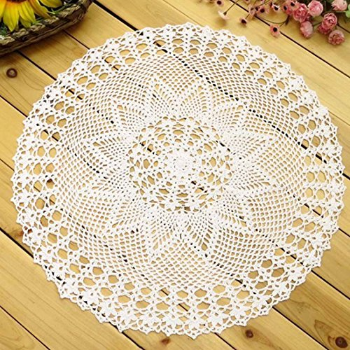 Oval Tablecloth Crochet Pattern (kilofly Handmade Crochet Cotton Lace Table Sofa Doily, Waterlily, White, 22 inch)