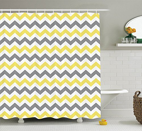 Horizontal Chevron Zigzag Pattern shower curtian, Yellow Gre