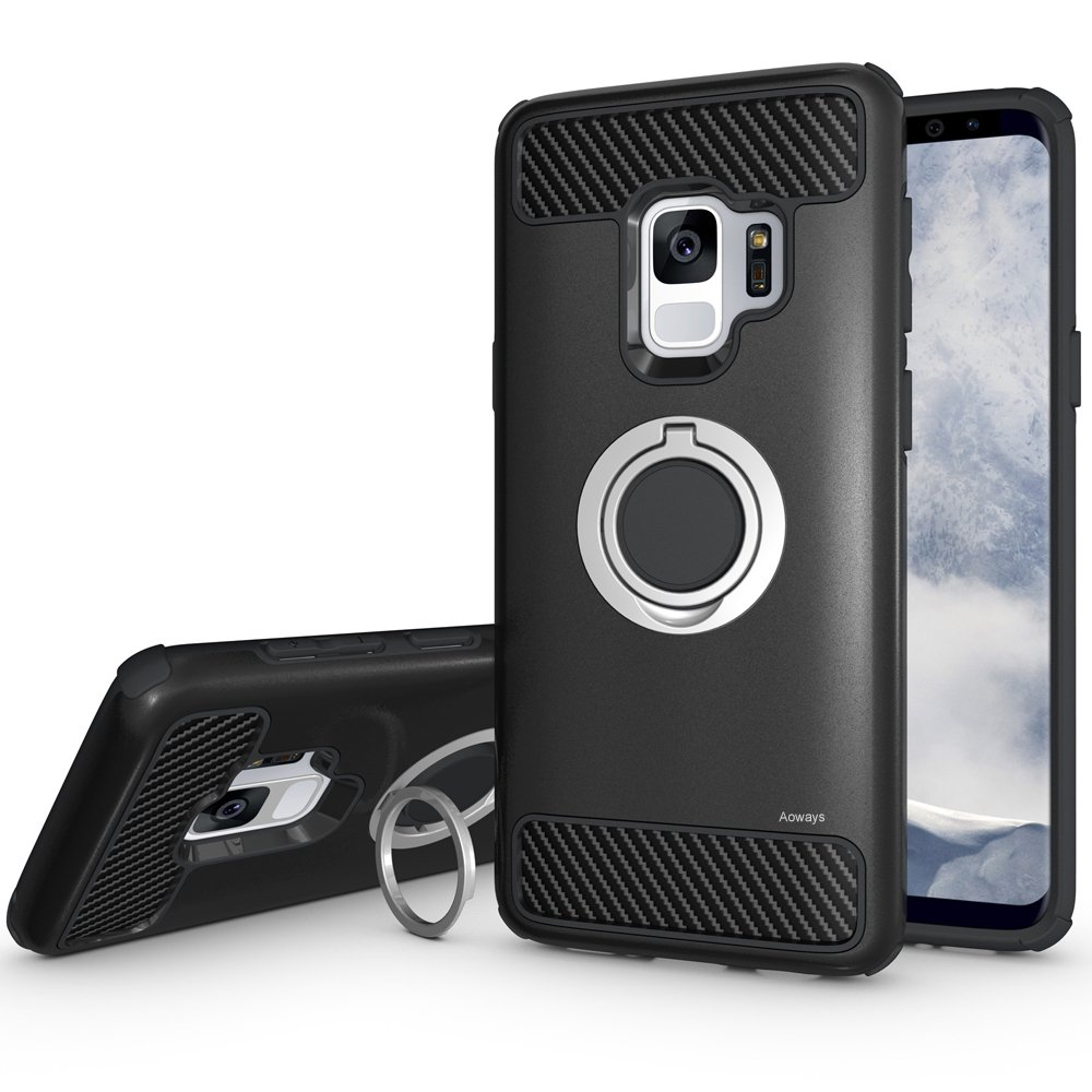 Galaxy S9 Case Aoways Armor Dual Layer Case with Rotatable Finger Ring Kickstand Magnetic Car Mount Protective Cover for Samsung Galaxy S9 Rose Gold