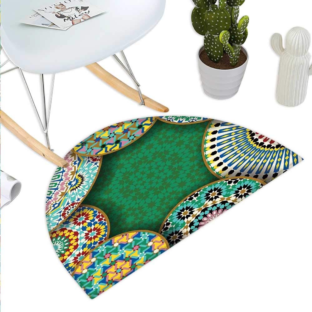 color10 H 43.3  xD 64.9  Mgoldccan Semicircle Doormat Old Fashioned Eastern Style Mosaic Composition with Folk Mandala Motifs Halfmoon doormats H 27.5  xD 41.3  Turquoise orange