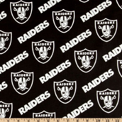 - Fabric Traditions NFL Cotton Broadcloth Oakland Raiders Black/Silver Fabric by The Yard