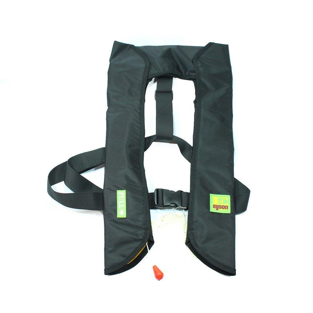Lifesaving Proプレミアム品質自動/手動インフレータブルライフジャケットフローティングライフベストInflateサバイバルAid PFD基本的な新しい  ブラック B0756RR9Y7