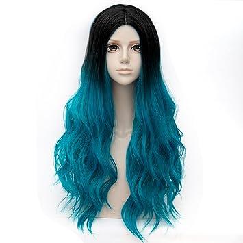 Amazon Com Falamka 75cm Multicolor Synthetic Black Root Ombre Hair
