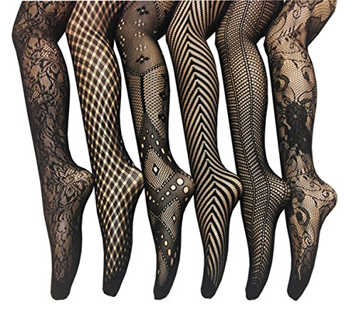 (Frenchic Seamless Fishnet Lace Stocking Tights - Extended Sizes (Pack of 6) (3X-4X), Black)