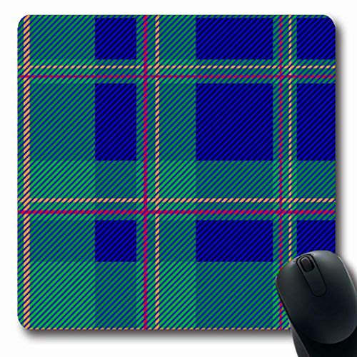 Ahawoso Mousepads Plaid Beige Abstract Pattern Checkered Blue Yellow Green Checked Color Creative Dark Kilt Oblong Shape 7.9 x 9.5 Inches Non-Slip Gaming Mouse Pad Rubber Oblong Mat ()