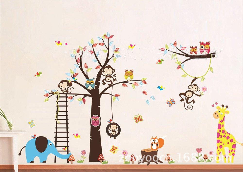 Amazon.com: Haya TM Lovely Blooms Zoo Nursery Childrenu0027s Room Decorative Wall  Stickers Kids Vinyl Sticker Home Decoration Part 57