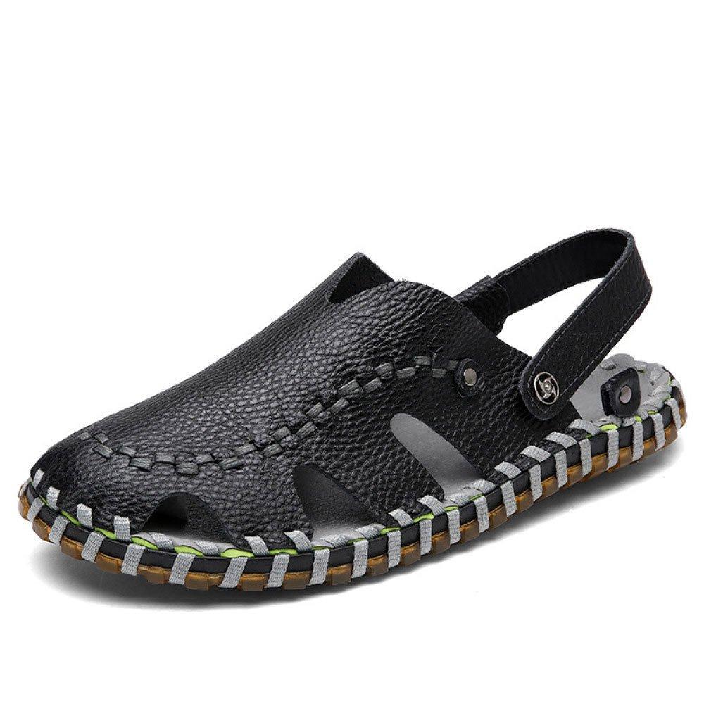 Sandalias Hechas A Mano Cómodas De Verano Ligero Baotou Transpirable Adaptable Zapatos Antideslizantes Zapatos De Ocio 43 EU|Black
