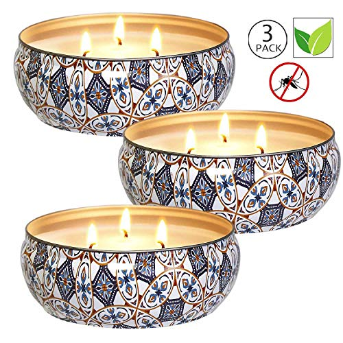 YIHANG Citronella Candles Set 3, 12 oz Each Scented Candle Natural Soy Wax, Outdoor and Indoor