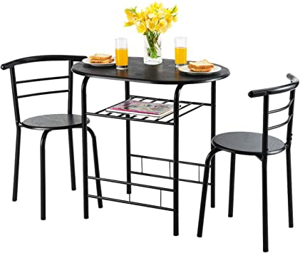 Amazon Com Giantex 3 Piece Dining Set Compact 2 Chairs And Table Set With Metal Frame And Shelf Storage Bistro Pub Breakfast Space Saving For Apartment And Kitchen Black Table Chair Sets