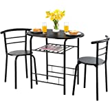 Giantex 3 Piece Dining Set Compact 2 Chairs and Table Set with Metal Frame and Shelf Storage Bistro Pub Breakfast Space…