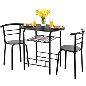 Giantex 3 Piece Dining Set Compact 2 Chairs and Table Set with Metal Frame and Shelf Storage Bistro Pub Breakfast Space Saving for Apartment and Kitchen (Black)